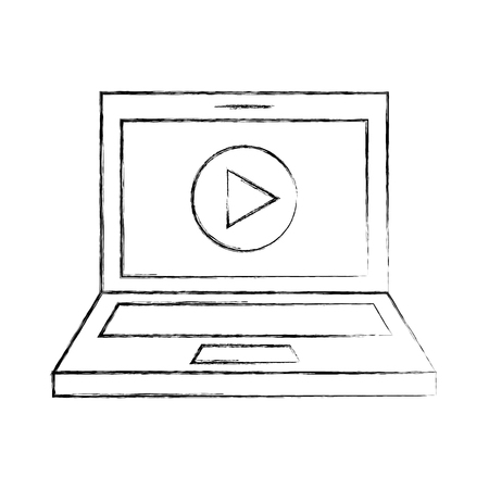 film industry: laptop with media player isolated icon vector illustration design Illustration