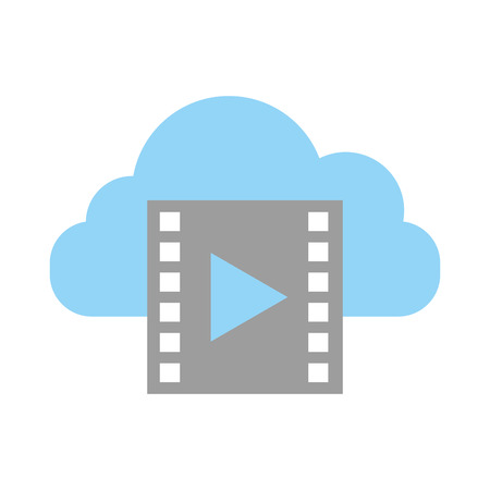 cloud computing with tape media player isolated icon vector illustration design 向量圖像
