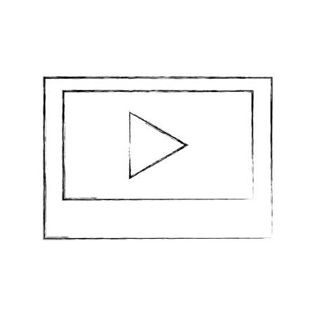 メディア プレーヤーの分離されたアイコン ベクトル イラスト デザインを搭載したタブレットします。