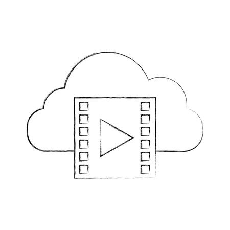 cloud computing with tape media player isolated icon vector illustration design Illustration