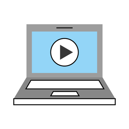 laptop with media player isolated icon vector illustration design Illustration
