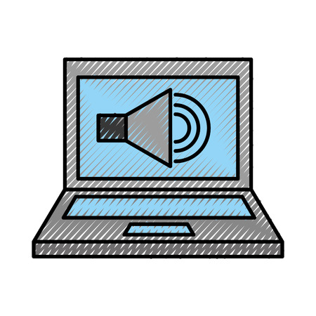 laptop with speaker sound isolated icon vector illustration design