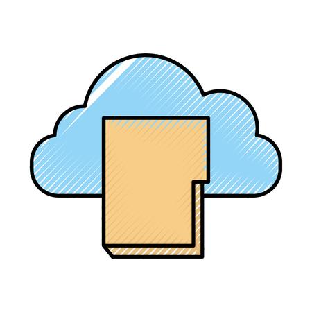 folder document with cloud computing vector illustration design