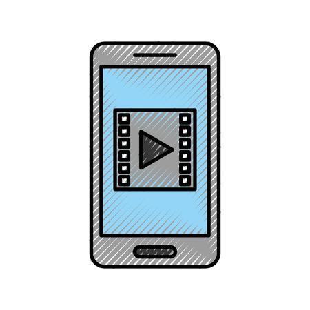 スマート フォン メディア プレーヤーと分離アイコン ベクトル イラスト デザイン