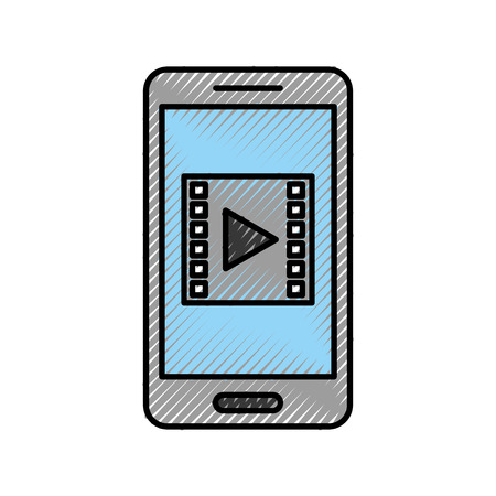 smartphone with media player isolated icon vector illustration design Ilustrace