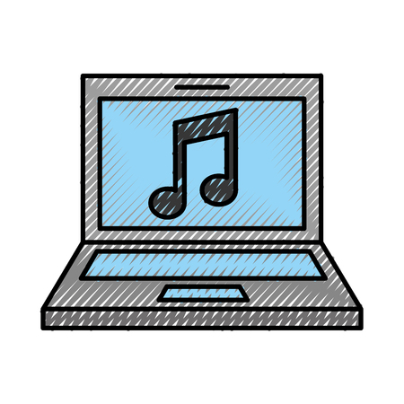 laptop computer with music note isolated icon vector illustration design