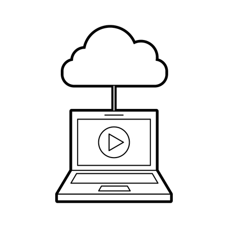 film industry: laptop and cloud computing with media player isolated icon vector illustration design