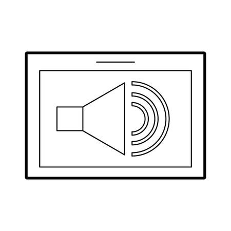 tablet with speaker sound isolated icon vector illustration design
