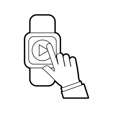 Hand user smartwatch with media player isolated icon vector illustration design 向量圖像