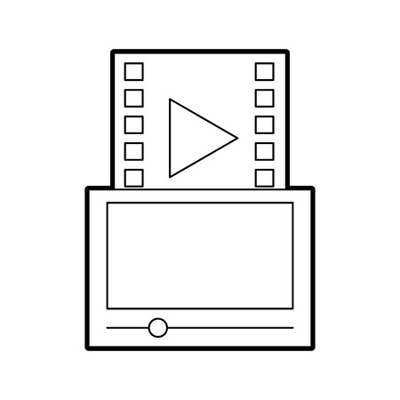 tablet with media player isolated icon vector illustration design