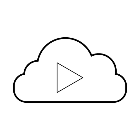 Cloud computing with tape media player isolated icon vector illustration design