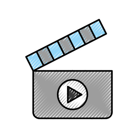 film industry: clapperboard with media player isolated icon vector illustration design