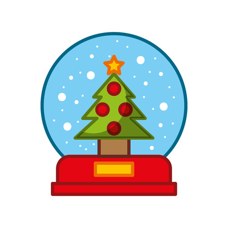 Decorative crystal ball with pine vector illustration design