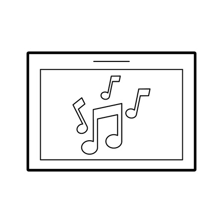 tablet with music note isolated icon vector illustration design Illusztráció