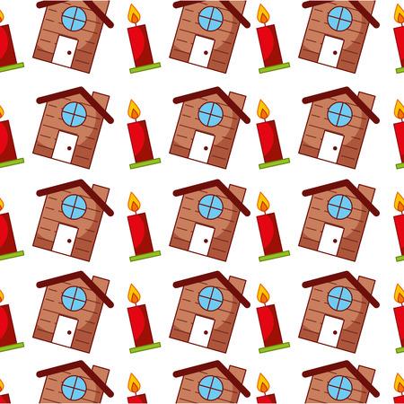 Vela de navidad y diseño de ilustración de vector de casa linda Foto de archivo - 84742614