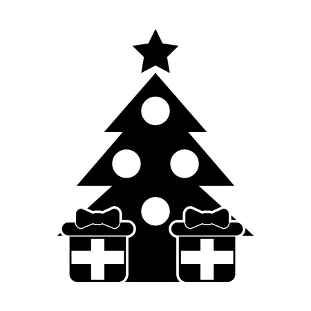 pine tree with gifts vector illustration design Çizim