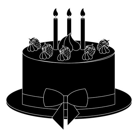 맛있는 케이크 베이커리 아이콘 벡터 일러스트 디자인