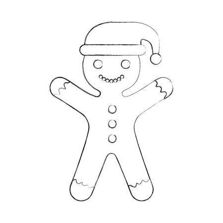 Ingwer Cookie Weihnachten Symbol Vektor-Illustration, Design, Standard-Bild - 84743240