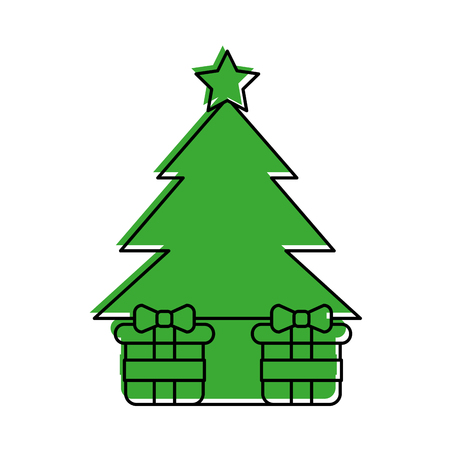 pine tree with gifts vector illustration design Illustration