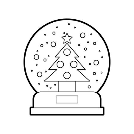 Decoratieve kristallen bol met pijnboom vectorillustratie ontwerp