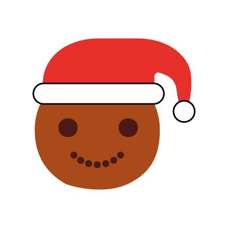 celebration smiley: Ginger cookie christmas icon vector illustration design