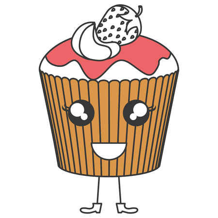 Delicious cupcake bakery character vector illustration design