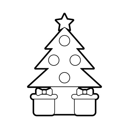Pine tree with gifts vector illustration design