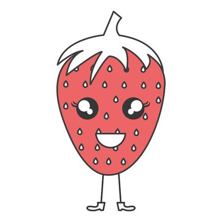 strawberry fresh fruit kawaii character vector illustration design