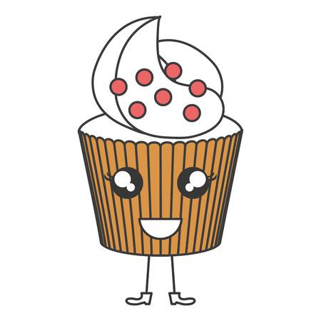 delicious cupcake bakery kawaii character vector illustration design