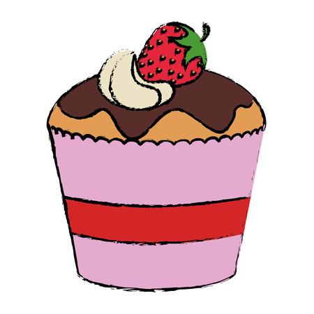 맛있는 컵 케 잌은 빵집 아이콘 벡터 일러스트 레이 션 디자인