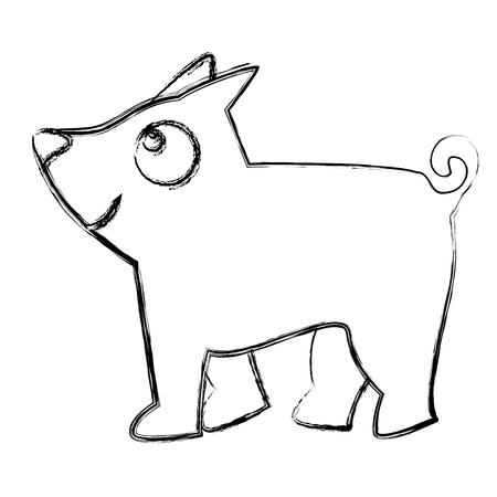 schattig hond mascotte pictogram vector illustratie ontwerp Stock Illustratie