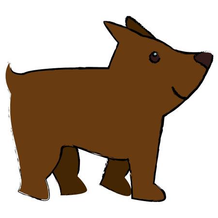schattige hond mascotte pictogram vectorillustratieontwerp