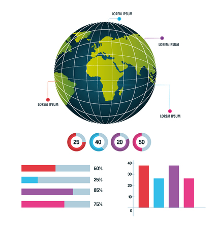 on top of the world: world infographic globe information business report work vector illustration Illustration