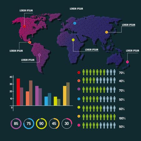 world map infographic demographic statistics presentation vector illustration Ilustrace