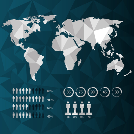 world map infographic demographic statistics presentation vector illustration Illustration