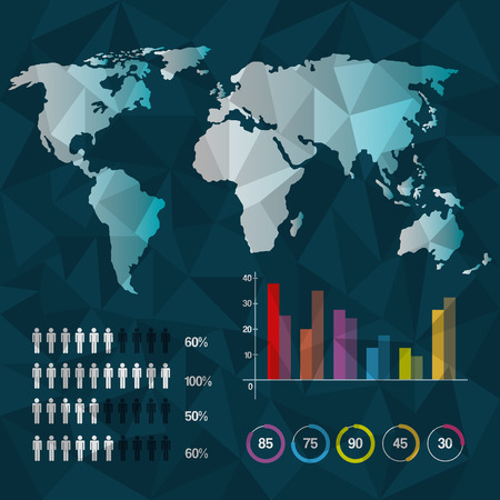world map infographic demographic report data with abstract background vector illustration Illustration
