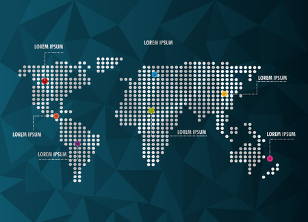 world infographic dotted map information network vector illustration