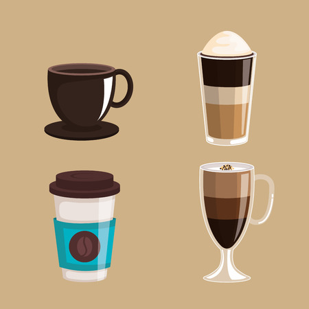 set of coffee cups elements aroma fresh drink vector illustration Иллюстрация