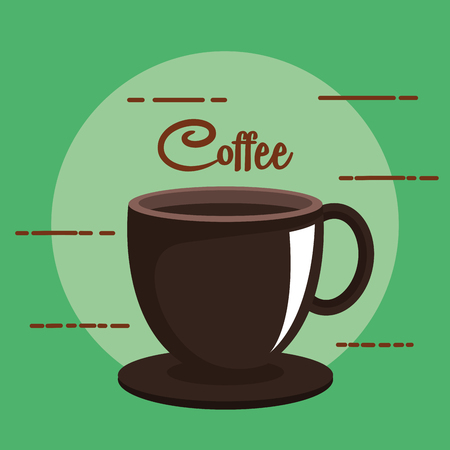 coffee cup and dish beverage on green background vector illustration