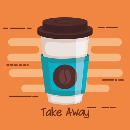 take away portable paper coffee cup on orange background vector illustration Illustration