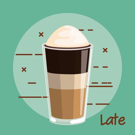 latte koffie met slagroom glas cup vectorillustratie