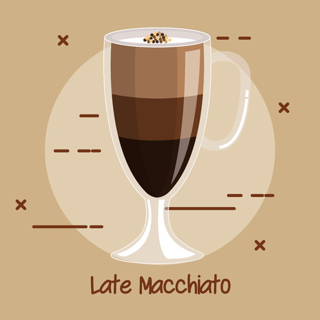 cup of latte macchiato coffee recipe menu element for bar cafe or restaurant vector illustration