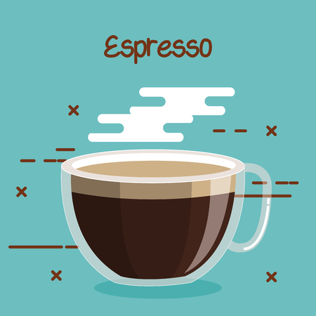 glass cup of coffee espresso soft drink vector illustration