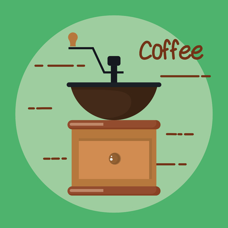 old fashioned manual coffee burr mill vector illustration