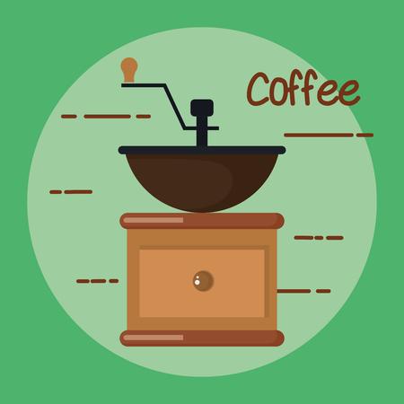 ouderwetse handmatige koffiemolen molen vectorillustratie