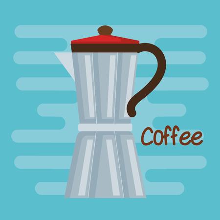 Italiaans koffiezetapparaat traditioneel element op blauwe vectorillustratie als achtergrond Stock Illustratie