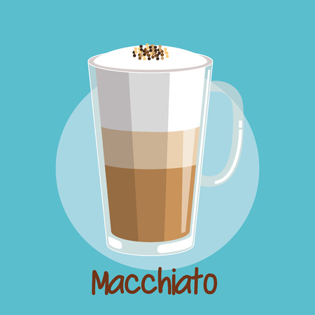 macchiato iced coffee frothed milk in glass cup vector illustration Illustration