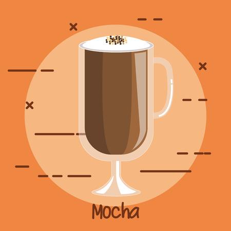 투명 마시는 유리 컵 벡터 일러스트 레이 션에서 커피 마시는 모카