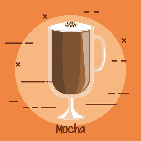 coffee drink mocha in transparent drinking glass cup vector illustration