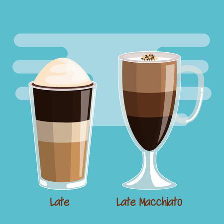 Koffie latte en latte macchiato drank in glazen beker vectorillustratie Stockfoto - 84749936